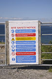 Safety site notice. Warning site safety notice fence royalty free stock photos
