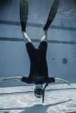 Safety Staff member Upside Down Underwater Between two Performan Royalty Free Stock Photos