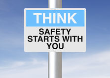 Safety Starts With You. A sign with a safety reminder Stock Image
