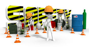 Safety Stop. A Health and Safety Area with  men at work stopping traffic Royalty Free Stock Photos