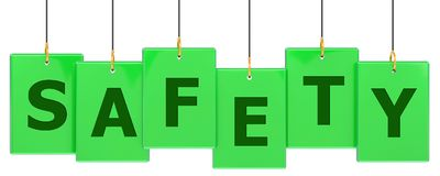 Safety tag banner. Safety 3d rendered green tag banner , isolated on white background Royalty Free Stock Images