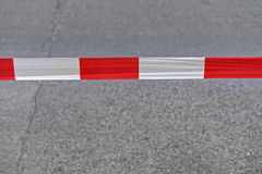 Safety tape. Red and white safety tape line Stock Photo