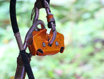 Safety tether springhook and safety rope part Stock Images