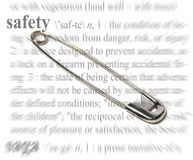 Safety Theme. A photo of a safety pin with a safety theme Stock Photos