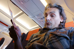 Safety tips for airline passengers Stock Photos