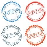 Safety tips badge isolated on white background. Flat style round label with text. Circular emblem vector illustration Royalty Free Stock Photography