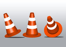 Safety Traffic Cones on granite pavement. Equipment 3D Royalty Free Stock Photo
