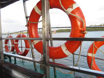 Safety tyres. Its of Safety tyres hanging inside the boat stock photo