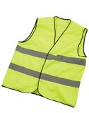 Safety vest isolated. Yellow safety vest isolated on white Royalty Free Stock Photo