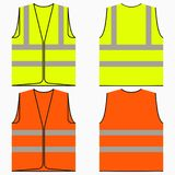 Safety vest. Set of yellow and orange work uniform with reflective stripes. Vector. Safety vest. Set of yellow and orange work uniform with reflective stripes vector illustration