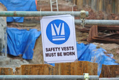Safety vest sign at construction site. Stock Photography