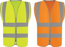 Safety vests yellow and orange. Vector illustration Royalty Free Stock Photography