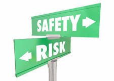 Safety Vs Risk Security Protection Reduce Danger Signs Royalty Free Stock Photography