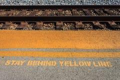Safety Warning Near Railroad Track Royalty Free Stock Image
