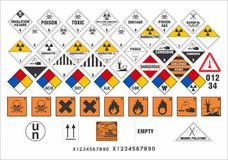 Safety warning signs - Transport Signs 3/3 - Vector. Vector international transport safety and warning signs of dangerous goods ADR, ADNR, IMDG, IATA, RID, 49 royalty free illustration