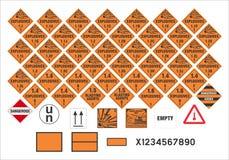 Safety warning signs - Transport Signs 1/3 - Vector. Vector international transport safety and warning signs  of dangerous goods ADR, ADNR, IMDG, IATA, RID, 49 Stock Image