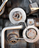 Safety Wired Bolts Royalty Free Stock Images