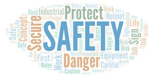 Safety word cloud. Word cloud made with text only vector illustration