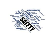SAFETY - word cloud wordcloud - terms from the globalization, economy and policy environment Royalty Free Stock Photography