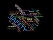 SAFETY - word cloud wordcloud - terms from the globalization, economy and policy environment Royalty Free Stock Photos