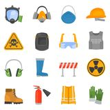 Safety work color flat icons set for web and mobile design. Safety work color flat icons set for web and mobile Stock Photo