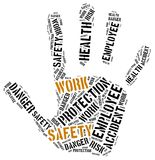 Safety at work concept. Word cloud illustration. Stock Photography