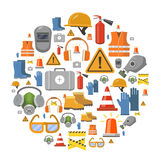 Safety work flat vector icons round background Royalty Free Stock Photo