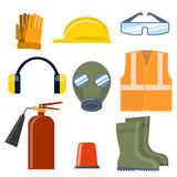 Safety work flat vector icons set. Set of helmet, goggles, mask, boots vest headphones fire extinguisher Royalty Free Stock Images
