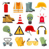 Safety work flat vector icons set Royalty Free Stock Photo