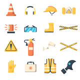 Safety work icons flat style. Royalty Free Stock Image