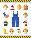 Safety at work. Job safety flat icons. Protective Royalty Free Stock Image