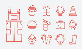 Safety at work. Job safety line icons vector set Royalty Free Stock Photos
