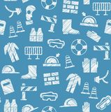 Safety at work, labor protection, seamless pattern, blue, pencil hatching, vector. Stock Photo