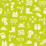 Safety at work, labour protection, seamless pattern, yellow-green, shading with pencil, vector. Special clothing and means of protection. Safety on the job Stock Image