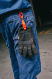 Safety work pants with gloves, add your own logo. Royalty Free Stock Images