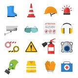 Safety work vector icons flat style Stock Photos