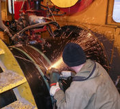 Safety at work. Welding and installation of the pipeline. Industrial weekdays welders and fitters.  stock images