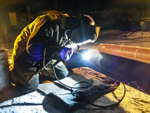 Safety at work. Welding and installation of the pipeline. Industrial weekdays welders and fitters. Safety at work. Welding and grinding of iron constructions stock photo