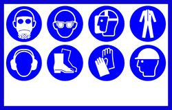 Safety workwear and equipment . Mandatory workplace signs, with copy space.  stock illustration