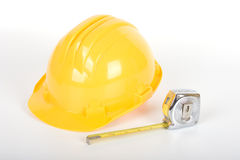 Safey helmet & measuring tape Stock Photos