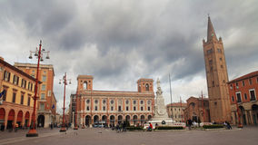 Saffi square in Forli. FORLI, ITALY - MARCH 16, 2014: people in the Saffi square at noon with a view of the Town Council Royalty Free Stock Photo