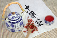 Safflower Herb Tea Stock Photo