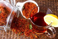 Safflower. Herbal tea for reducing blood pressure Royalty Free Stock Photography