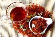 Safflower. Herbal tea for reducing blood pressure Stock Images