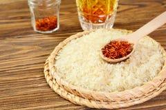 Saffraan en rijst Stock Foto