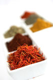 Saffron. Closeup of saffron,  chile powder and others spices  in a white container Stock Images
