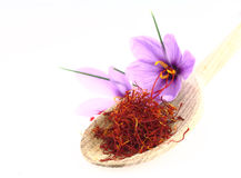 Saffron. Dried saffron spice and Saffron flowers Royalty Free Stock Photo