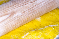 Saffron Bun Dough with Roller Royalty Free Stock Image