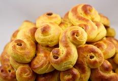 Saffron buns against a gray background Stock Photo