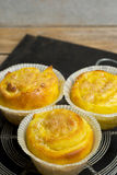 Saffron buns with almond paste filling Stock Images
